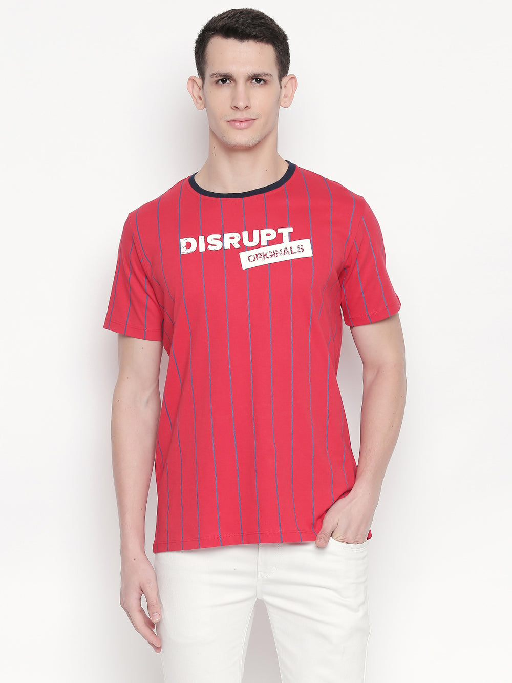 Blue Horizontal Striped Red Disrupt Graphic Print half sleeve T-shirt