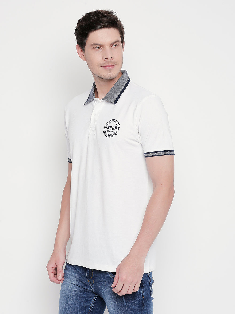 Disrupt Grey Collared White Regular-Fit Polo T-shirt