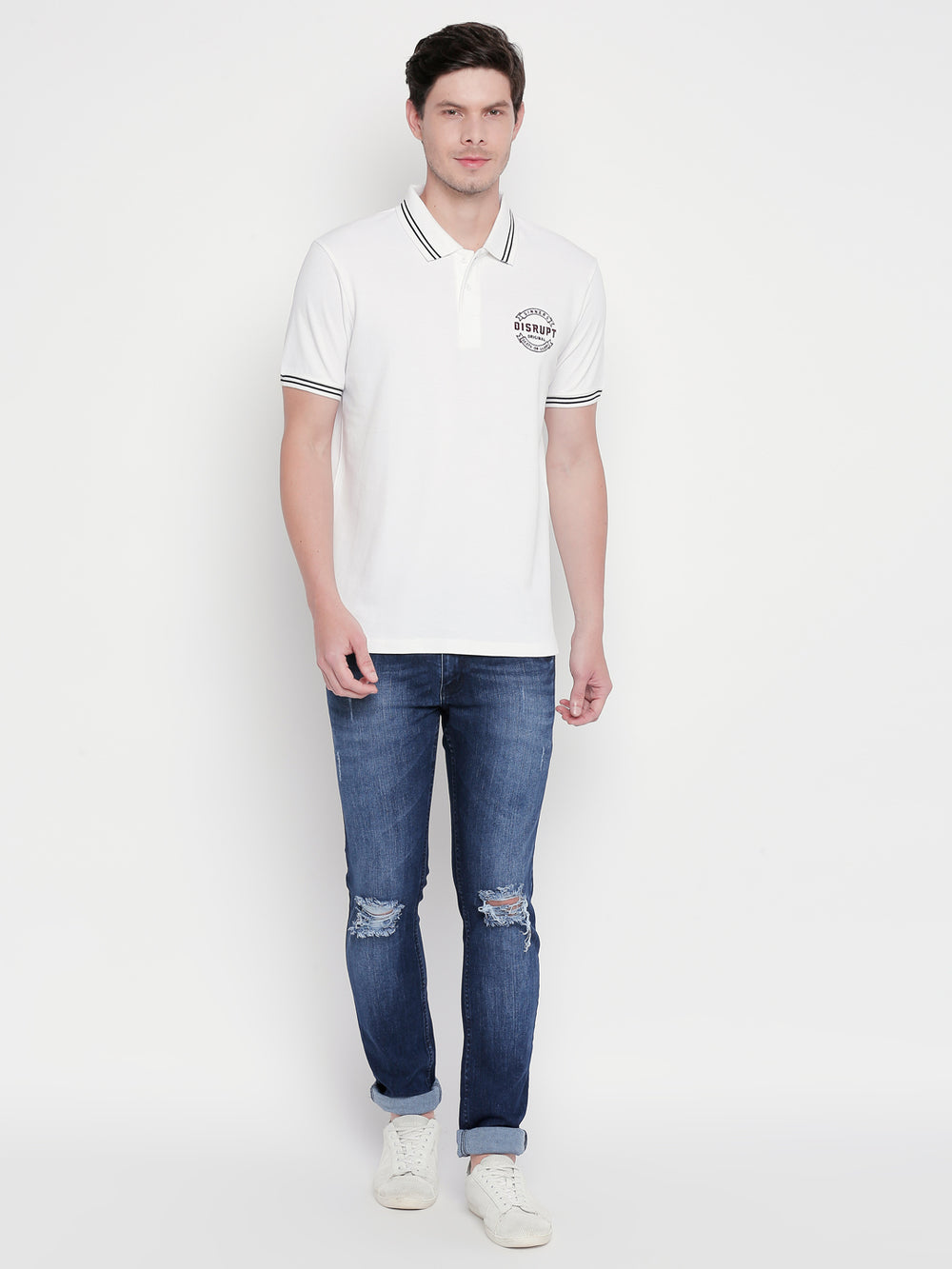 Disrupt White Regular-Fit Polo T-shirt