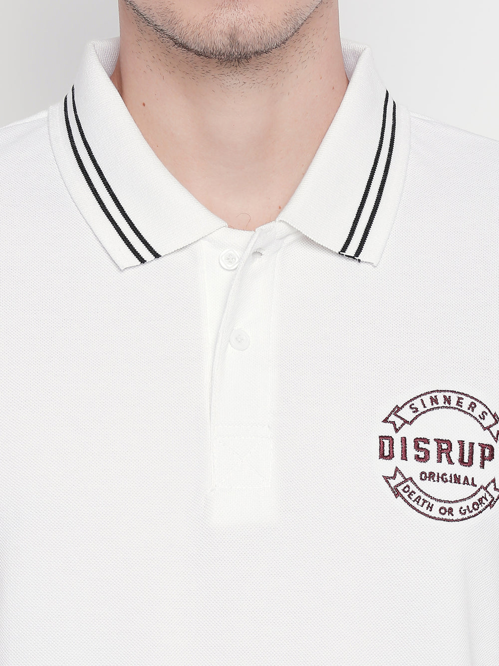 Disrupt White Regular-Fit Polo T-shirt For Men's