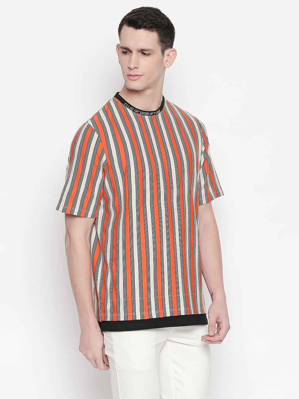 Disrupt yarn-dyed striped stylised T-shirt