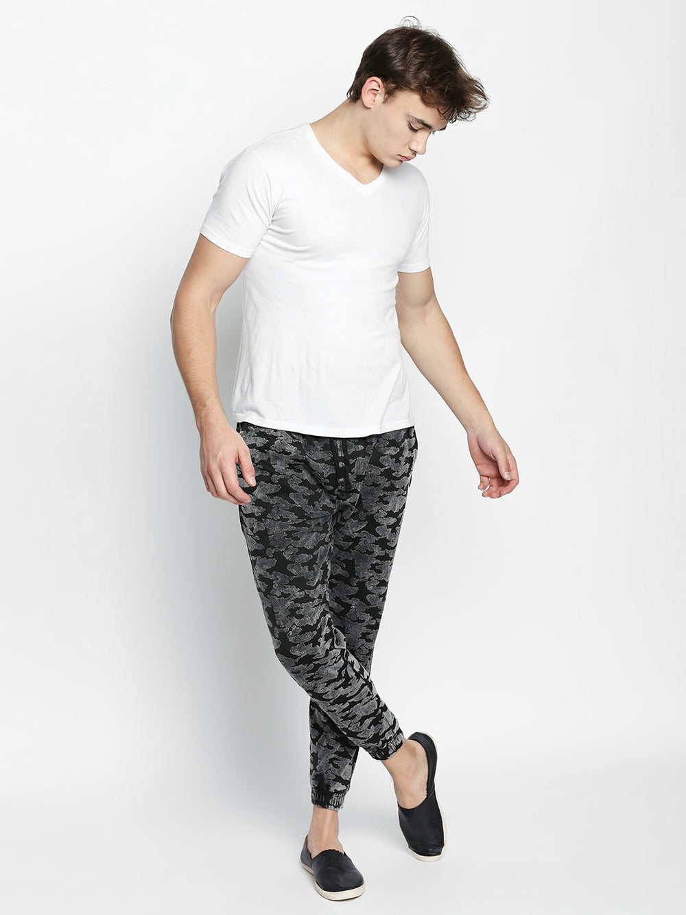 Disrupt Black Camouflage Pattern Cotton Joggers For Men's