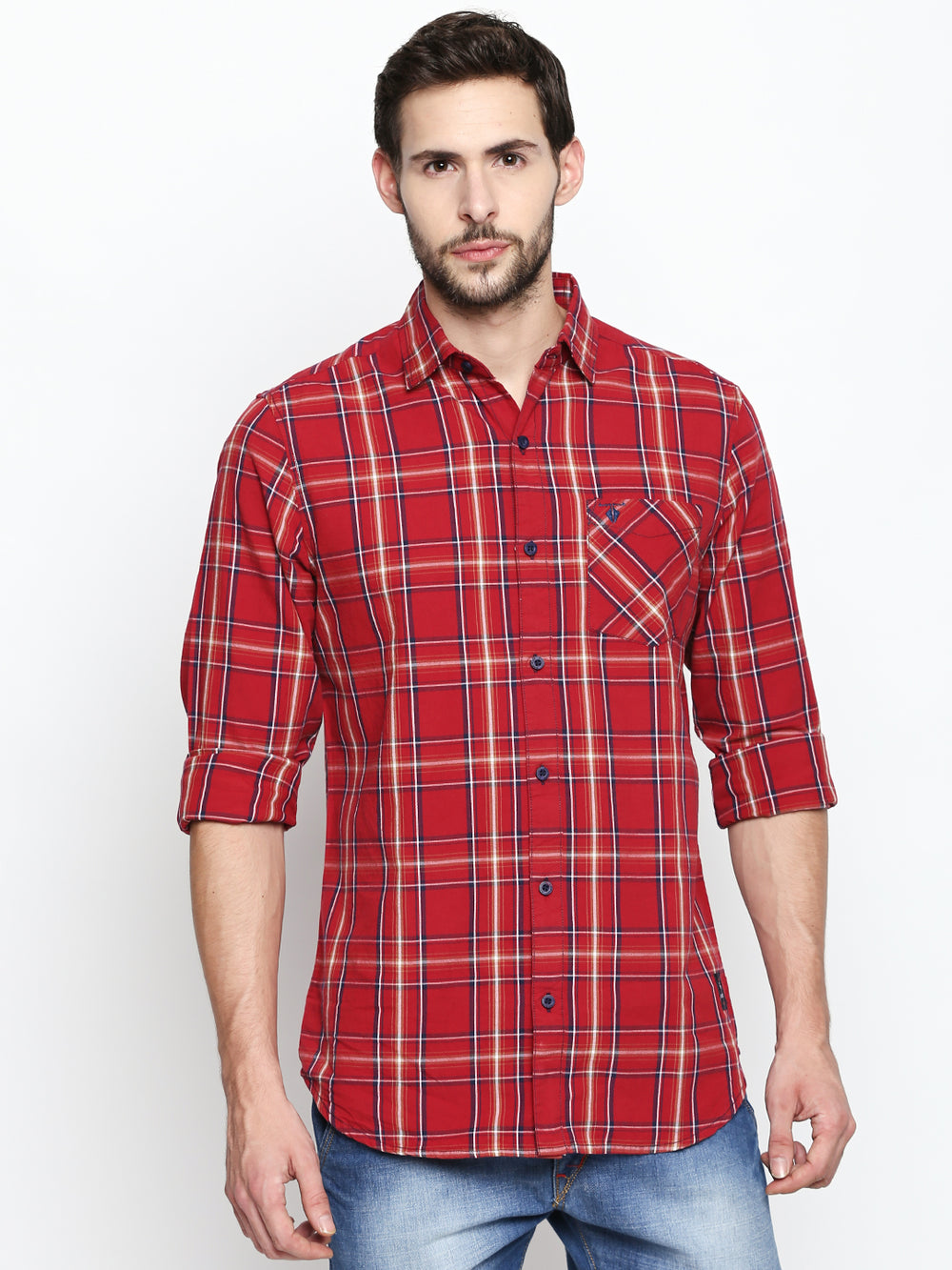 Disrupt Red-Navy Cotton Full Sleeve Shirt