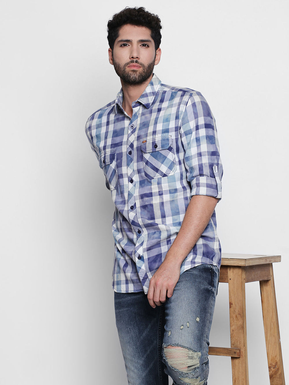 Disrupt Blue Cotton Fabric Full Sleeve Checkered Shirt For Men's