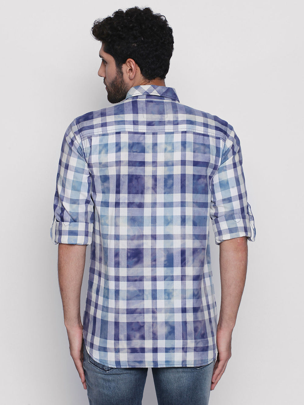 Disrupt Blue Cotton Fabric Full Sleeve Checkered Shirt