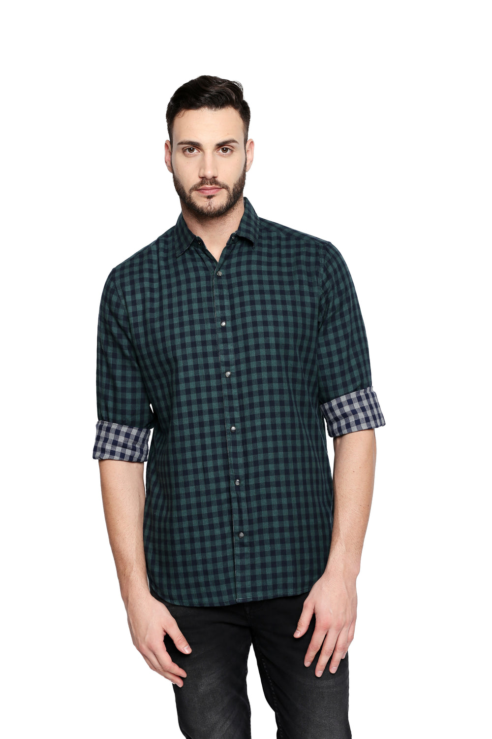 Disrupt Green Cotton Full Sleeve Shirt