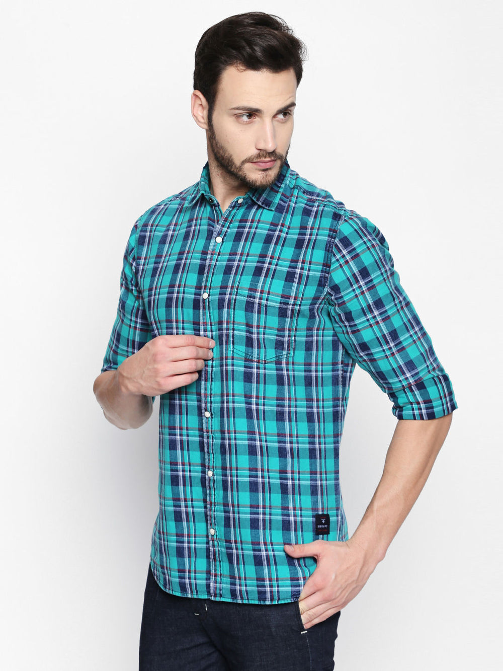 Disrupt Indigo Lagoon Green Cotton Fabric Full Sleeve Checkered Shirt