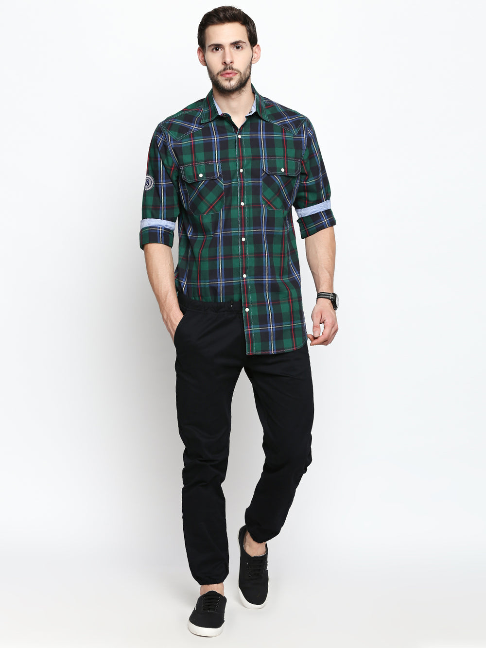 Disrupt Green Blue Cotton Full Sleeve Shirt