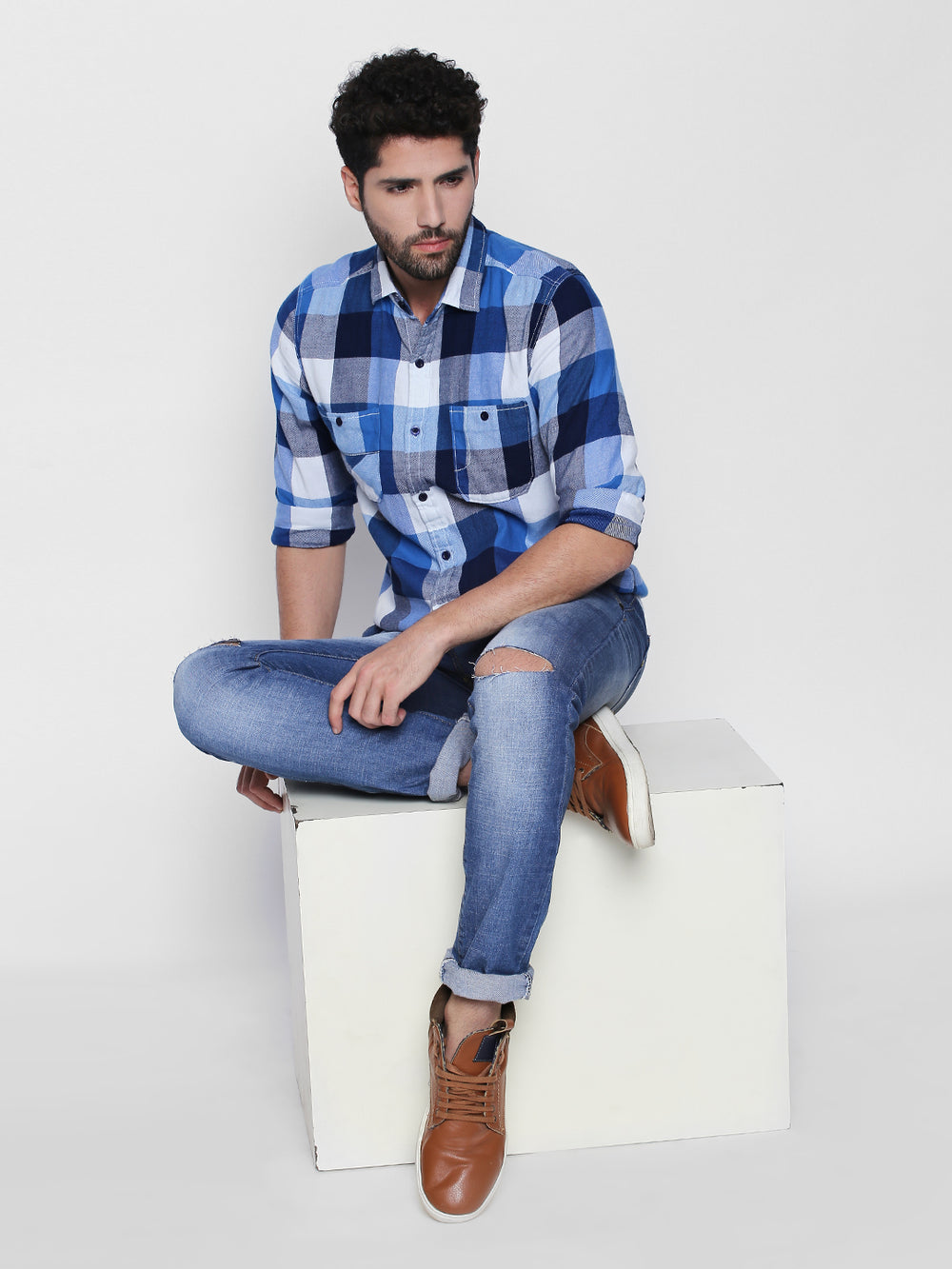 Disrupt Blue Cotton Full Sleeve Shirt