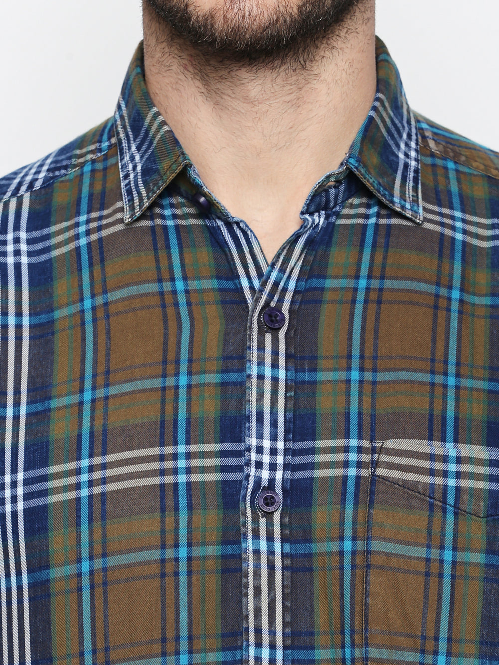 Disrupt Indigo Khaki-Navy-Turq Cotton Fabric Full Sleeve Checkered Shirt For Men's