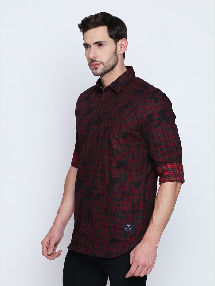 Disrupt Red Cotton Full Sleeve Shirt