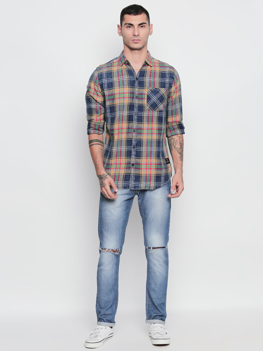 Disrupt Beige & Navy Cotton Full Sleeve Checkered Shirt