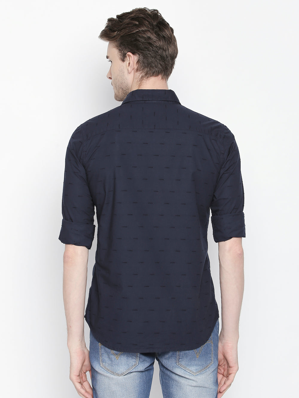 Disrupt Navy Full Sleeve Cotton Shirt for Men