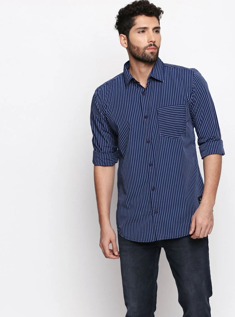 Disrupt Navy-Blue Cotton Fabric Full Sleeve striped Shirt