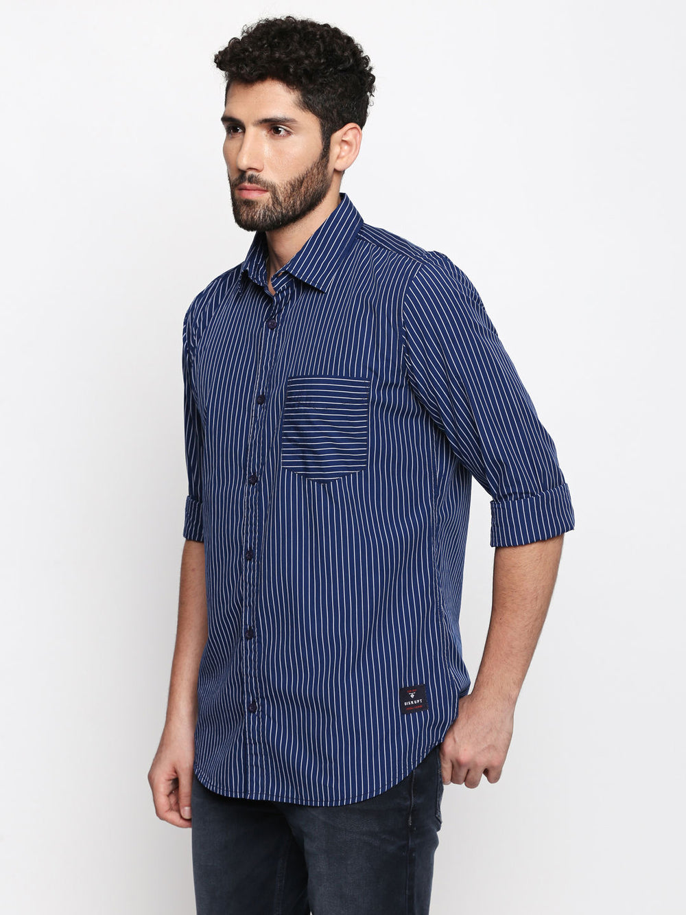 Disrupt Navy-Blue Cotton Fabric Full Sleeve striped Shirt For Men's