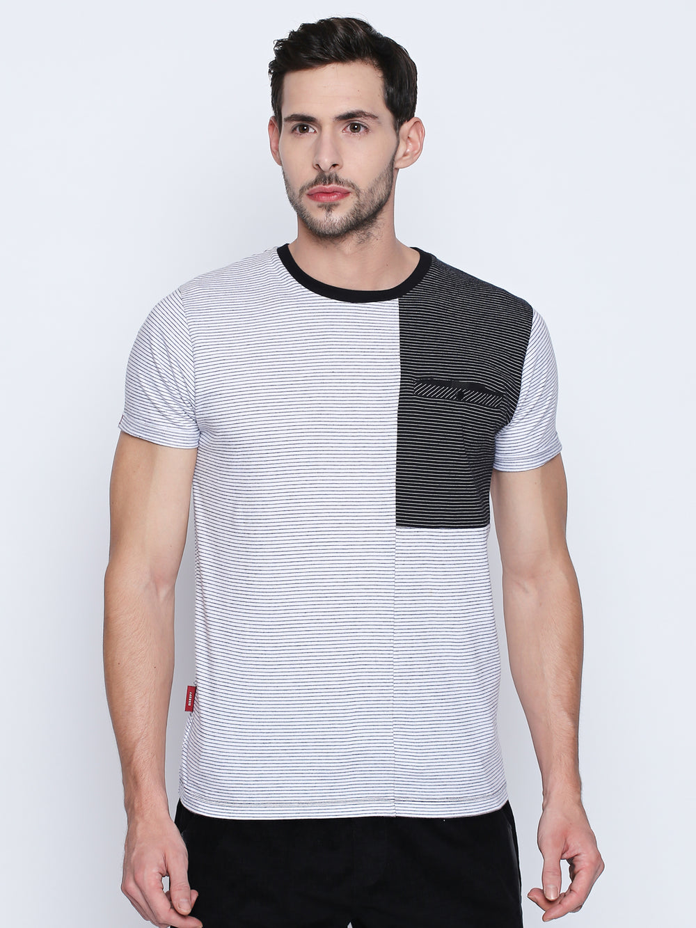 White and Black Geometric Patterned Cotton T-Shirt