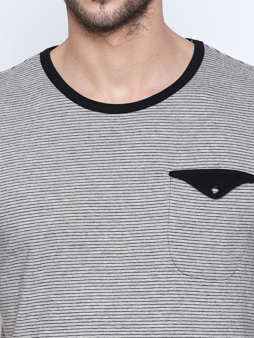 Grey Melange Striped Cotton Half Sleeve T-Shirt