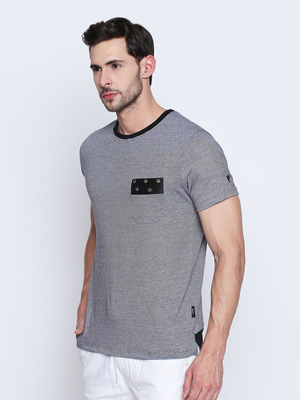 Black Detailed Slate Grey Cotton T-Shirt