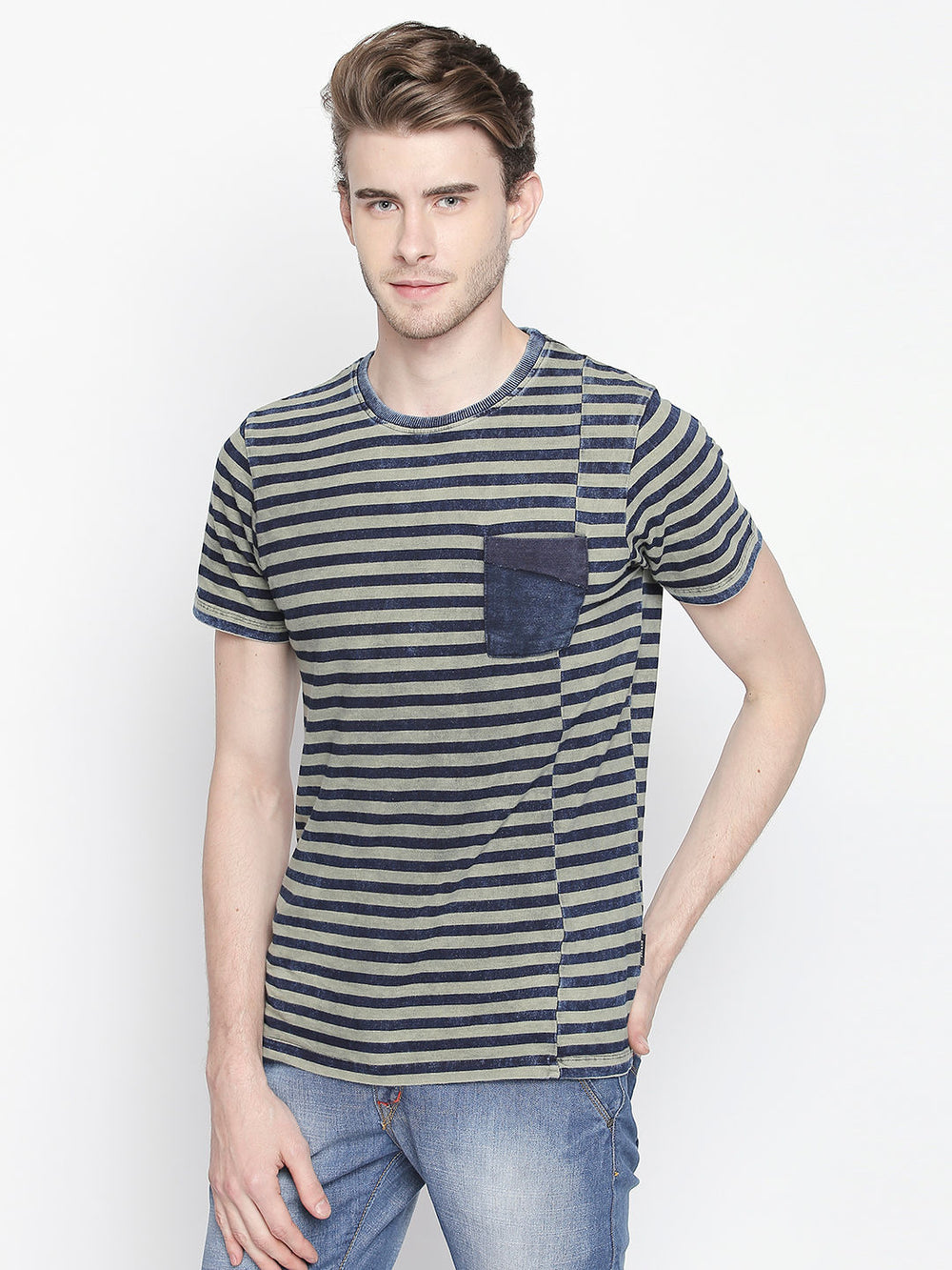 Dark Blue & Light Grey Striped Cotton Blend Half Sleeve T-Shirt