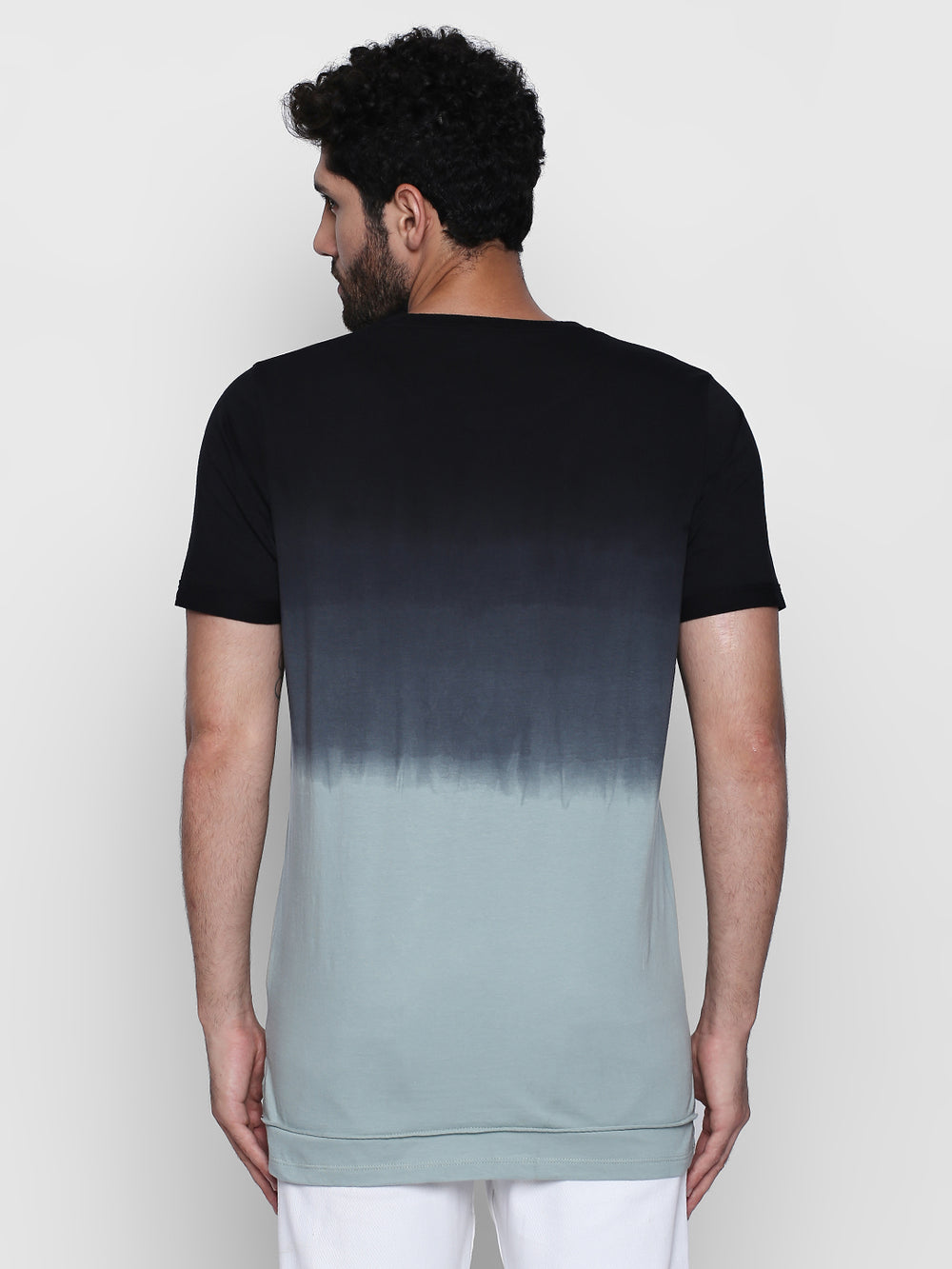 Grey Ombre Self Design Cotton Half Sleeve T-Shirt