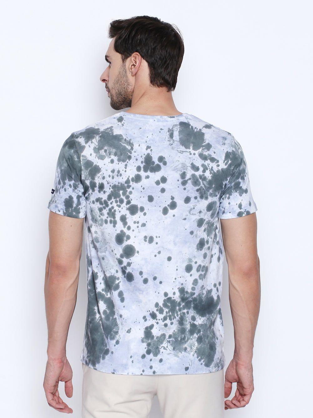 Dark Grey N Light Blue Dye Cotton T-Shirt