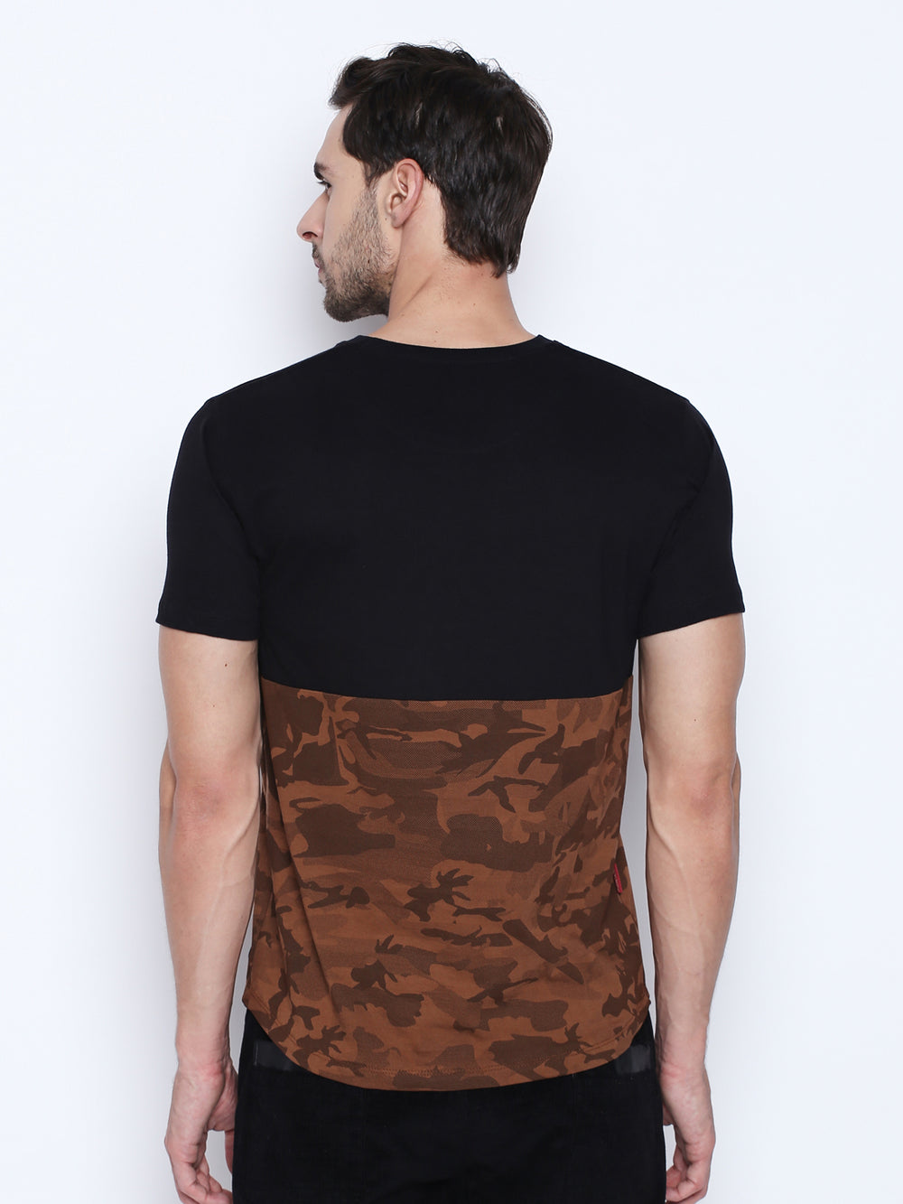 Black N Brown Camouflage Patterned Cotton T-Shirt