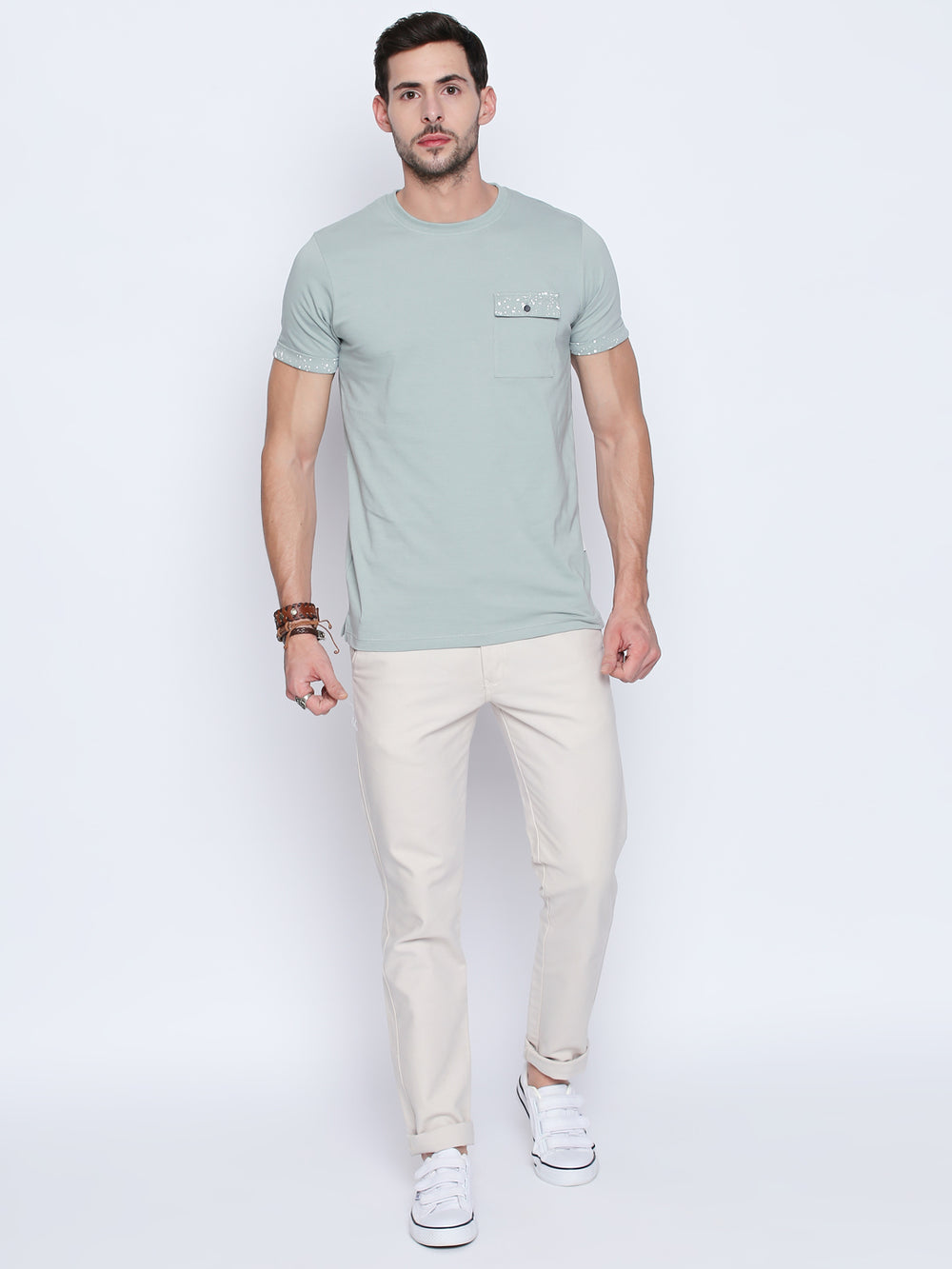 Light Steel Blue Cotton T-Shirt