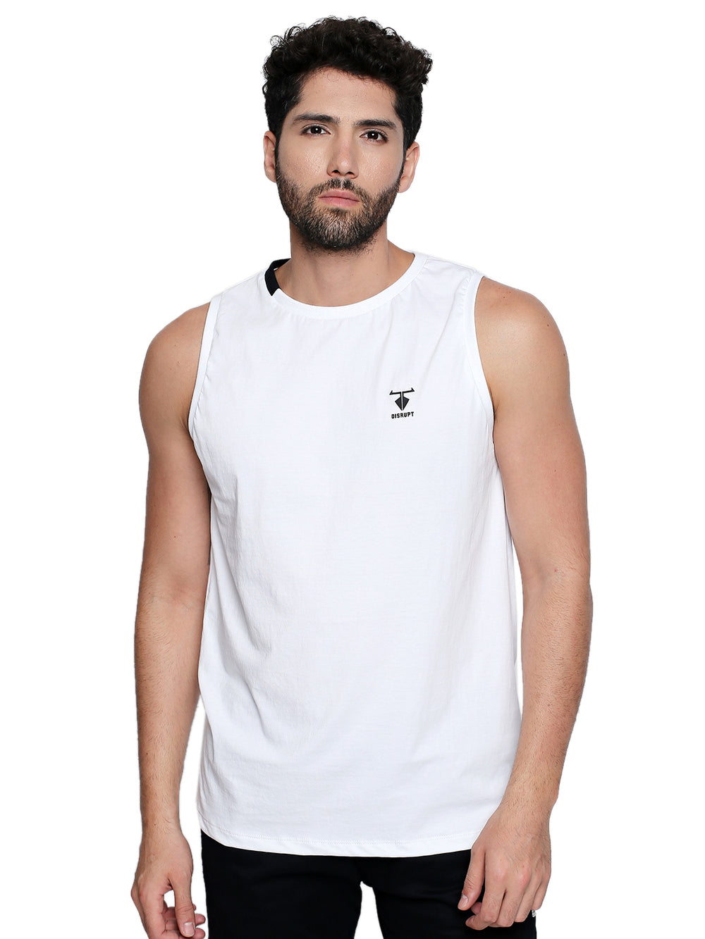 Disrupt Logo Print White Cotton Vest