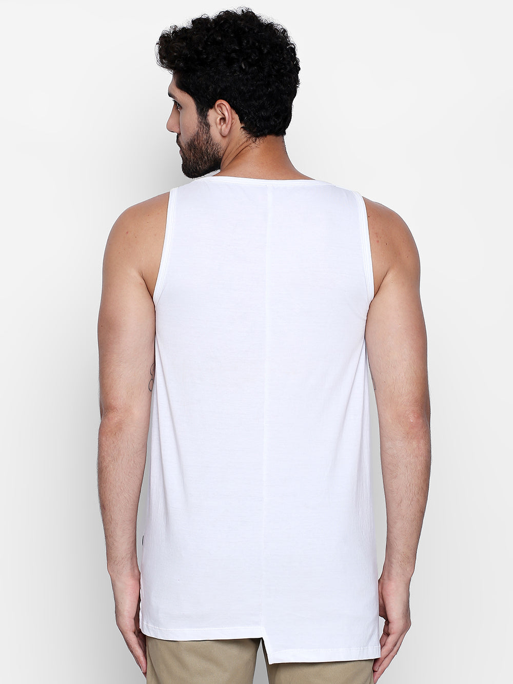 Disrupt Graphic Print White Cotton Vest