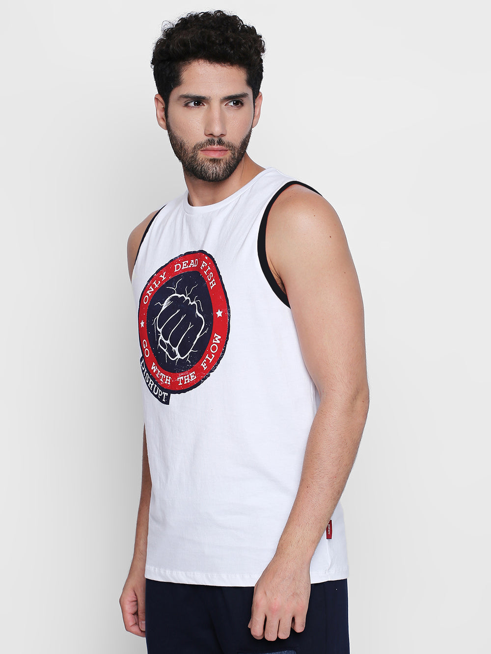 Disrupt White Cotton Vest