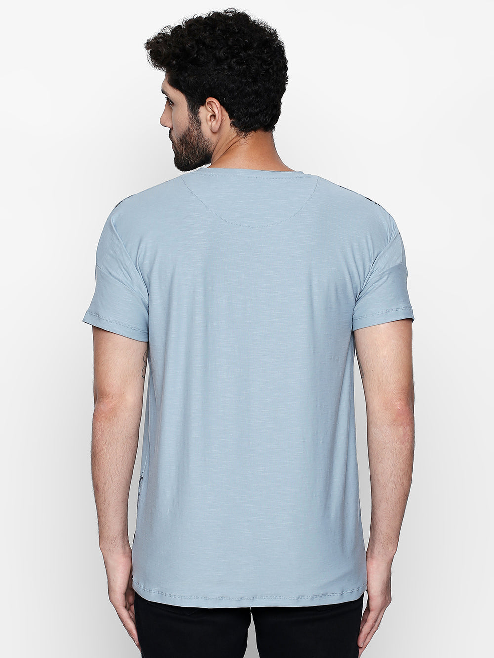 Sky Blue Graphic Print Cotton T-Shirt