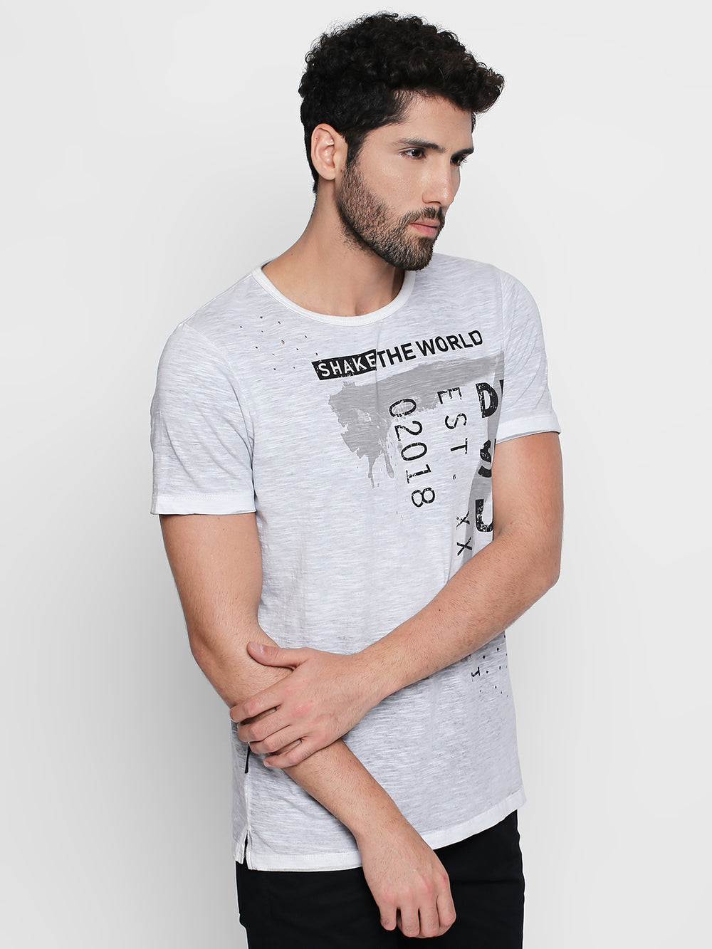 Grey Disrupt Graphic Print Cotton Half Sleeve T-Shirt