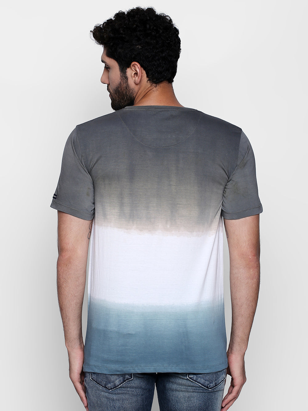 Dark Blue N White Striped Grey Cotton T-Shirt