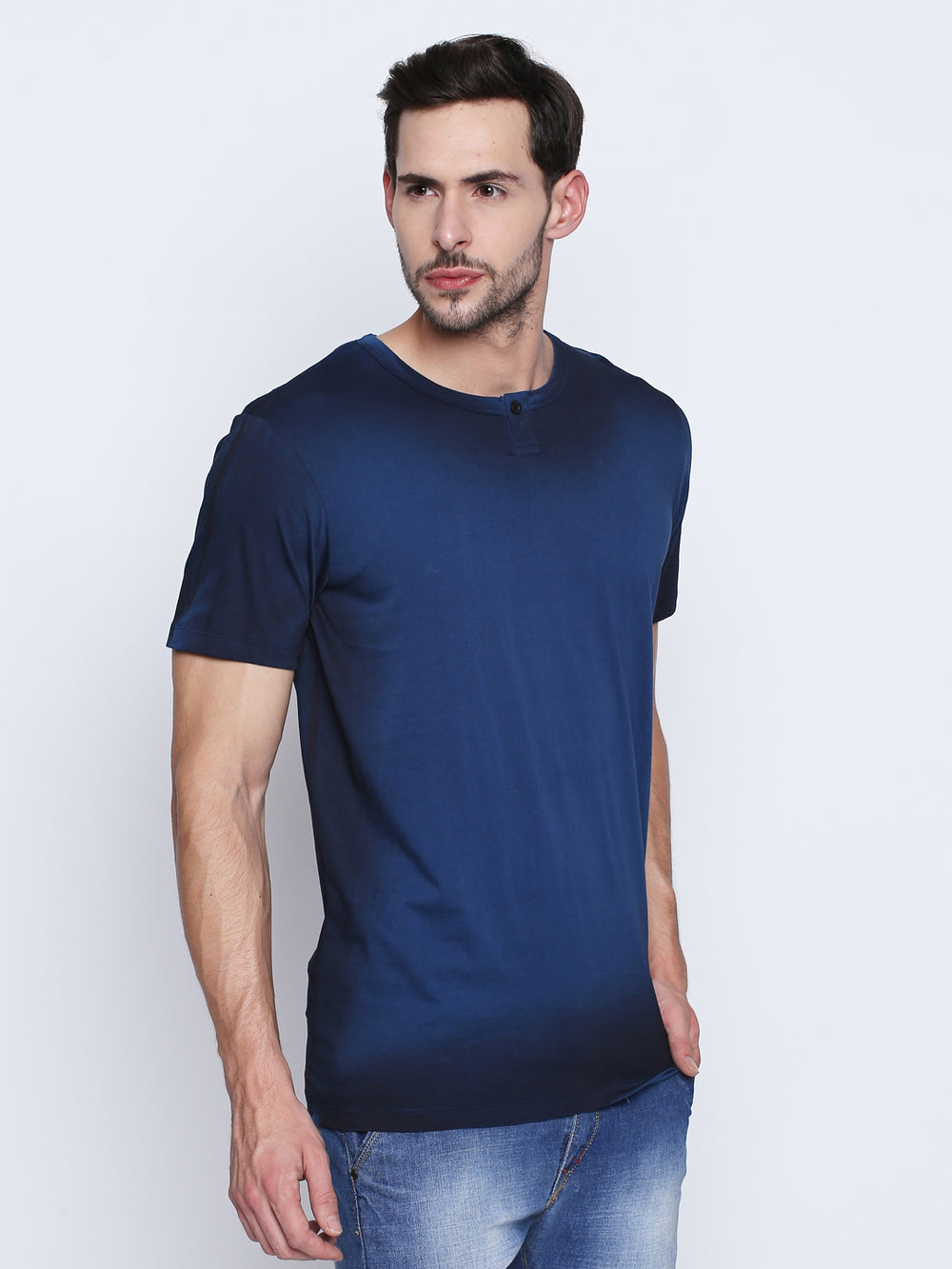 Dark Blue Self Design Cotton Half Sleeve T-Shirt