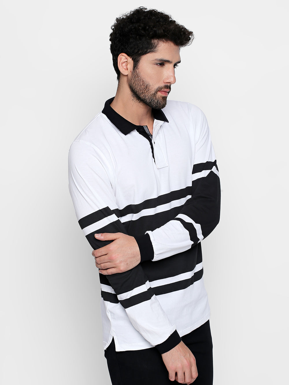 White and Black Striped Collared Cotton T-Shirt