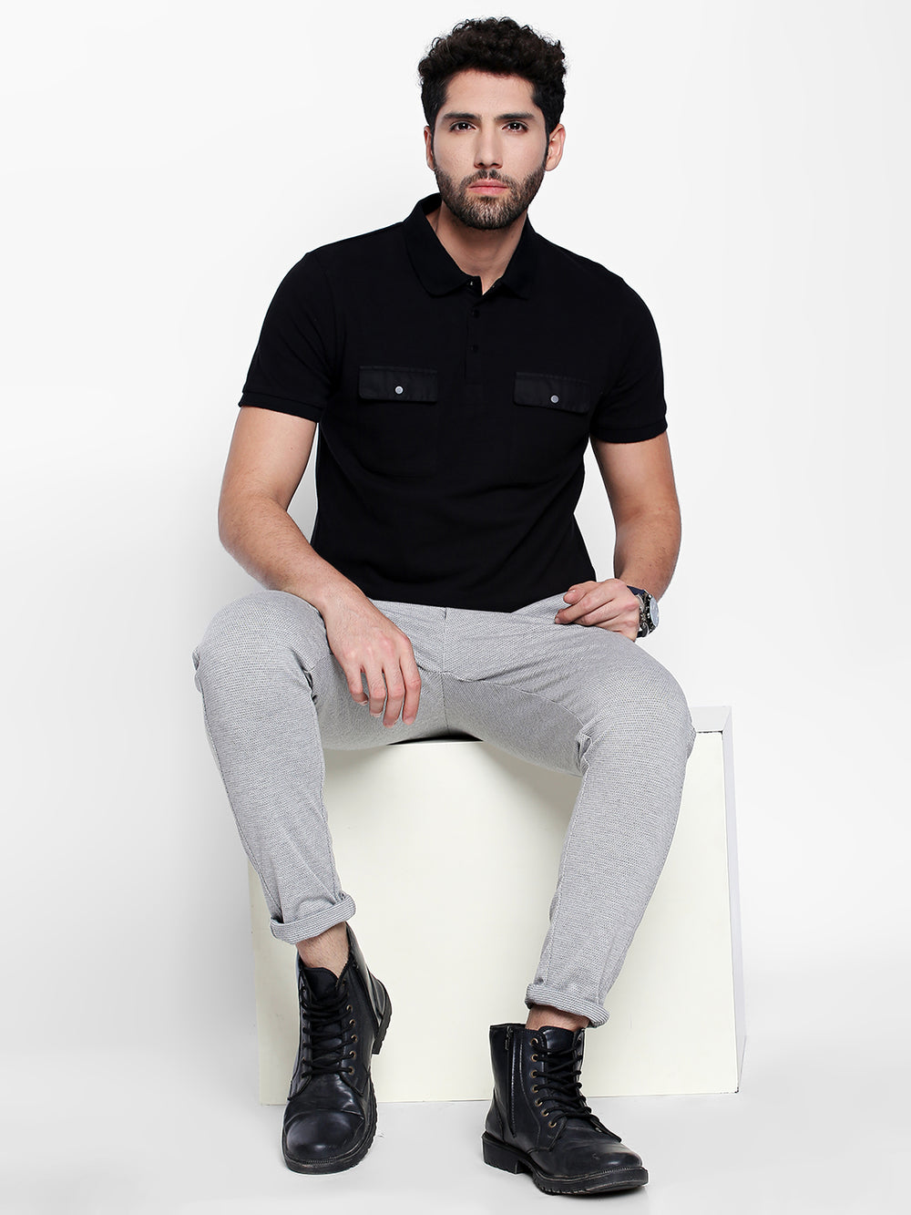 Black Satin Pocket Cotton Half Sleeve Polo T-Shirt