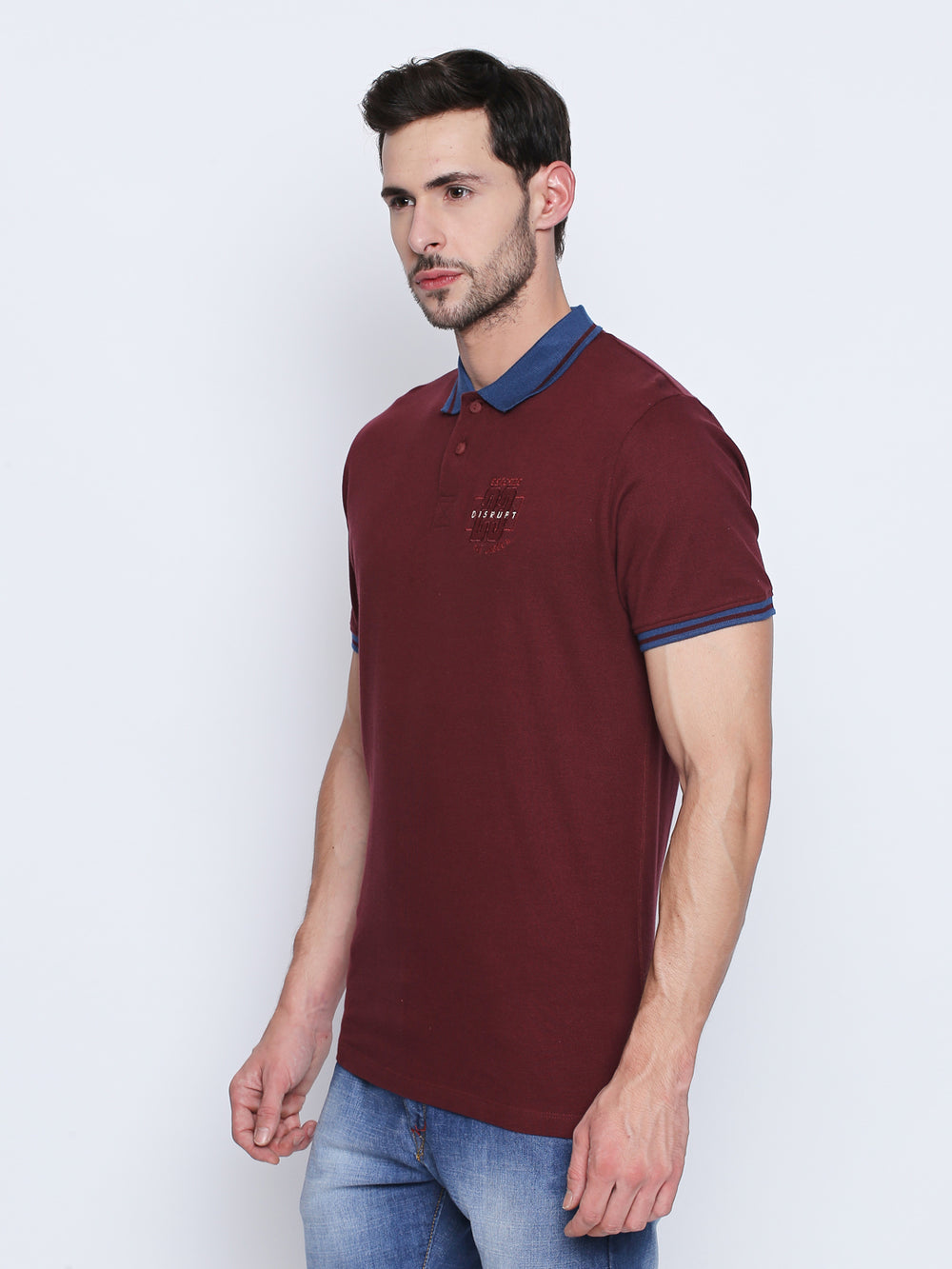 Disrupt Wine Embroidered Cotton Half Sleeve Polo T-Shirt