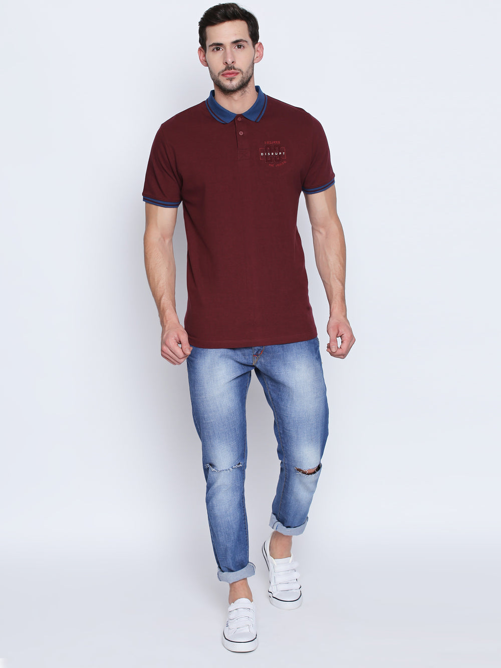 Disrupt WineEmbroidered Cotton Half Sleeve Polo T-Shirt For Men's