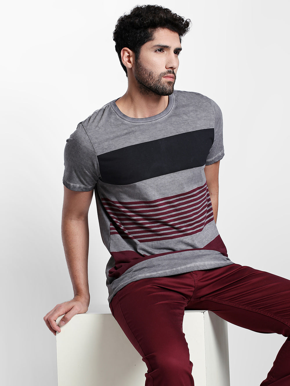 Black N Maroon Striped Grey Cotton T-Shirt