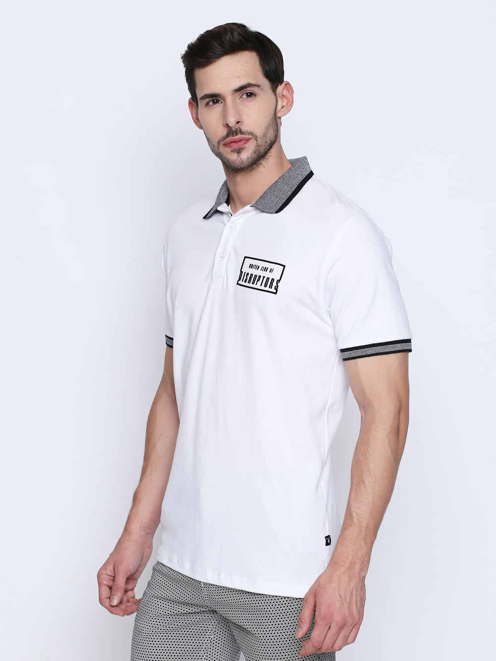 White Solid Disrupt Graphic Print Cotton Half Sleeve Polo T-Shirt