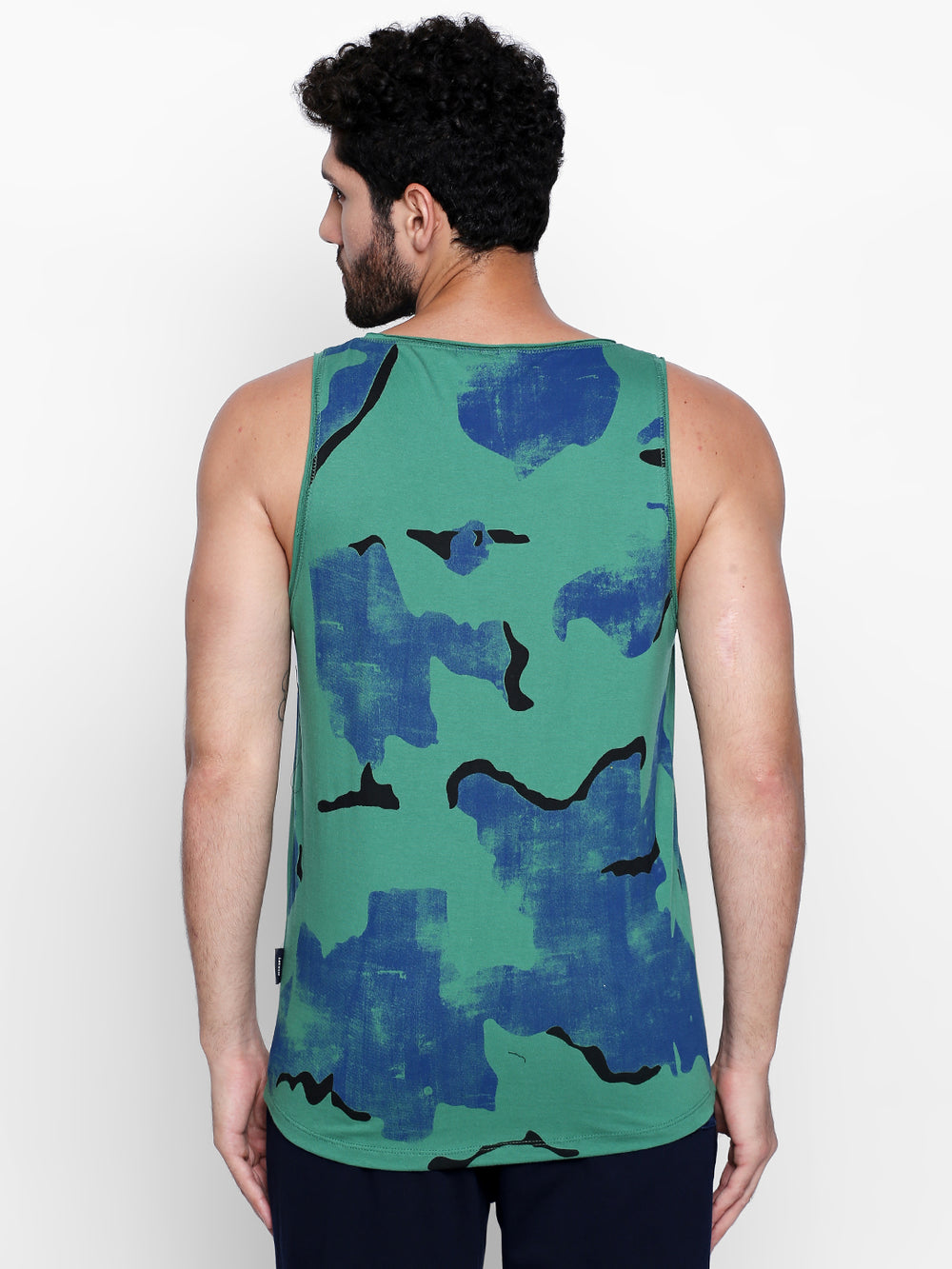 Disrupt Green N Blue Camouflage Print Cotton Vest