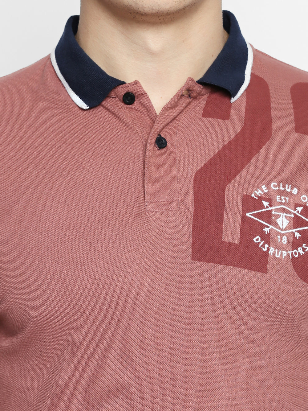 Salmon Pink Graphic Print Cotton Half Sleeve Polo T-Shirt