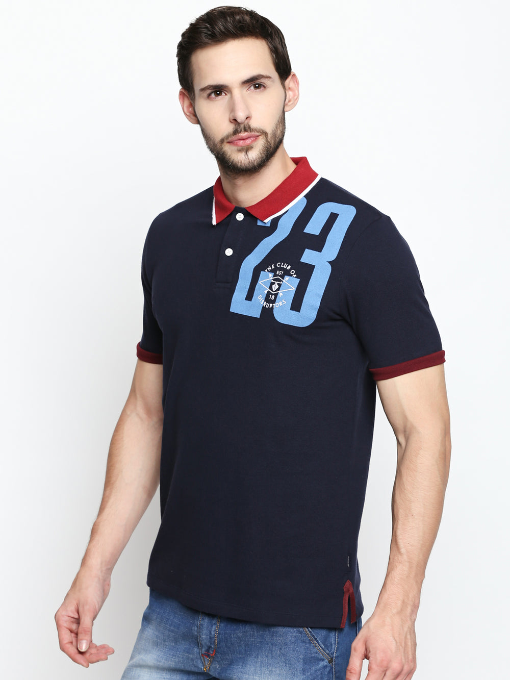 Navy Graphic Print Red Collared Cotton Half Sleeve Polo T-Shirt