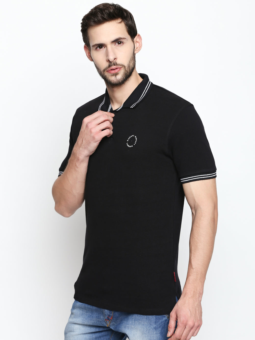 Black Cotton Half Sleeve Polo T-Shirt