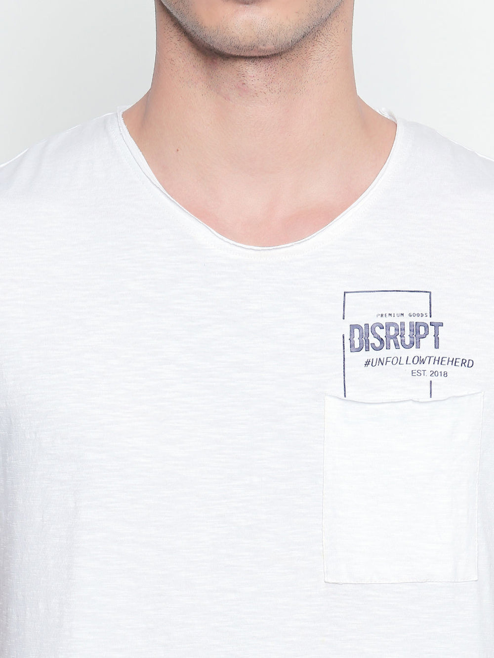 Disrupt White Graphic Print Cotton Half Sleeve T-Shirt