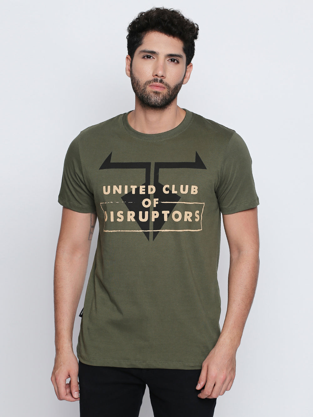 Olive Disrupt Graphic Print Cotton T-Shirt