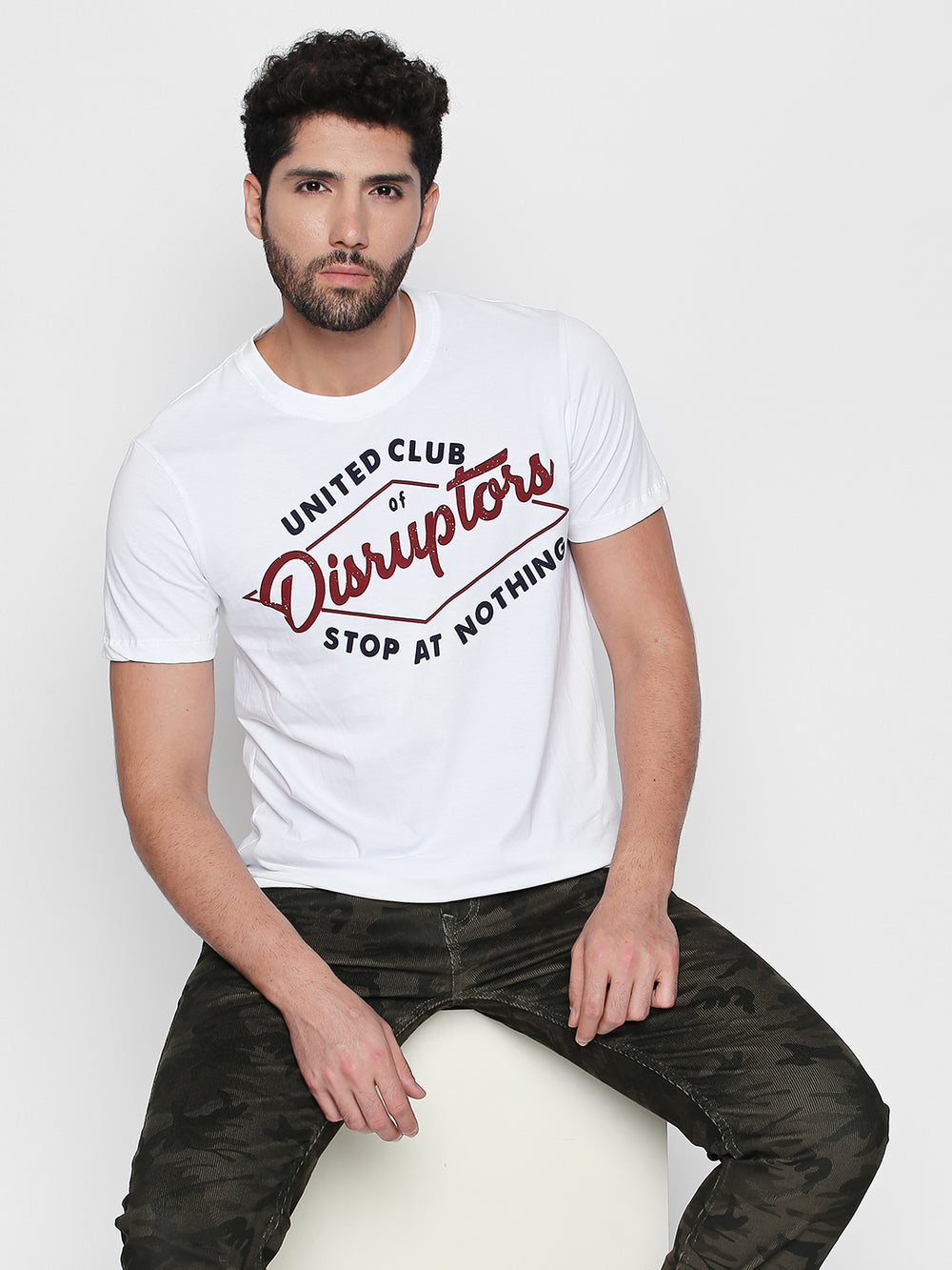 White Disrupt Graphic Print Cotton T-Shirt