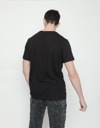 Black Disrupt Graphic Print Half Sleeve Cotton T-Shirt