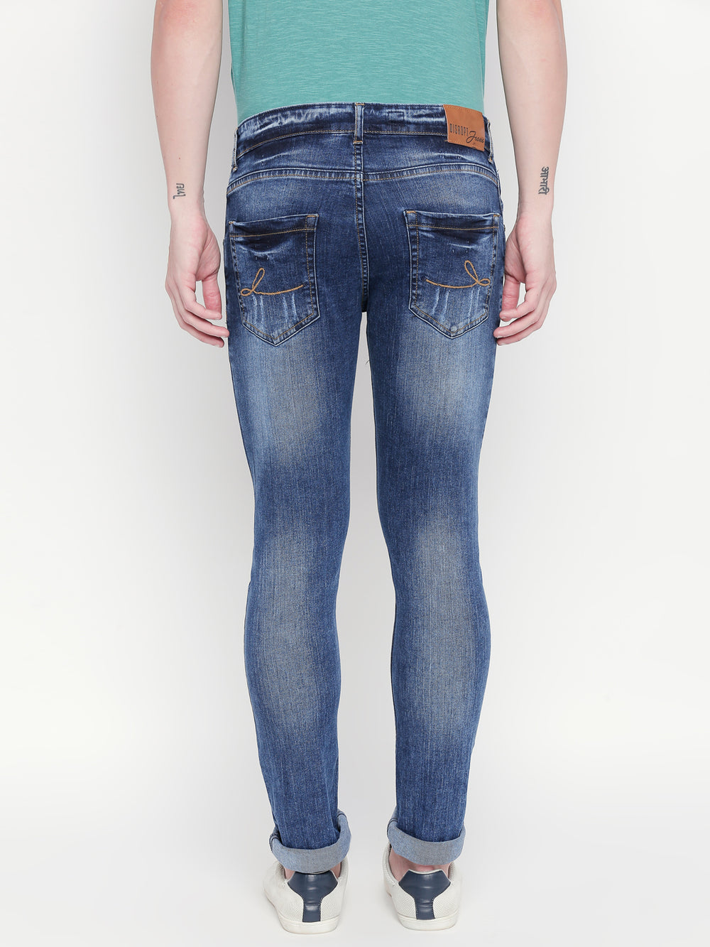 Disrupt Blue Slim-Fit Jeans For Men's