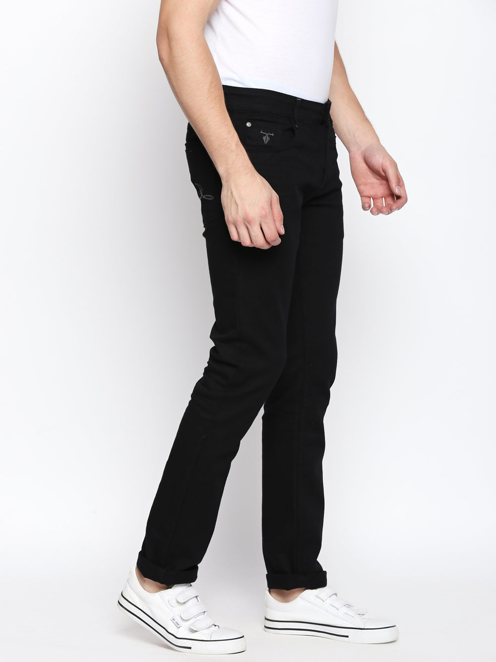 Disrupt Black Slim Fit Stretchable Jeans For Men's